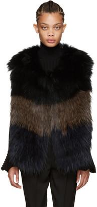 Yves Salomon Navy & Brown Knit Fur Vest $1,390 thestylecure.com