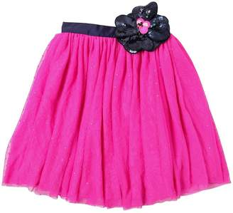 Little Marc Jacobs Stretch Tulle Skirt W/ Sequined Flower