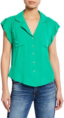 Velvet Heart Jenna Button-Front w\/ Shirred Shoulders