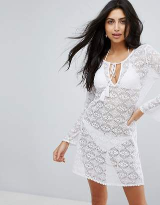 Dorina White Crochet Beach Cover Up