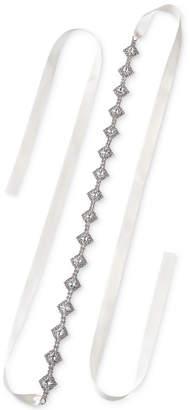 Badgley Mischka Silver-Tone Crystal Cluster Ribbon Sash