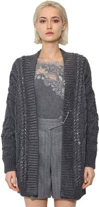 Ermanno Scervino OVERSIZED WOOL BLEND KNIT CARDIGAN