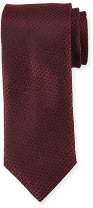 Canali Textured Solid Silk Tie, Burgundy Red