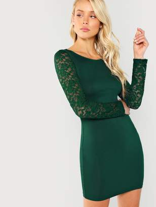 169c857fa3 Shein Floral Lace Sleeve Form Fitting Dress