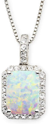 JCPenney FINE JEWELRY Lab-Created Opal & White Sapphire Pendant Necklace