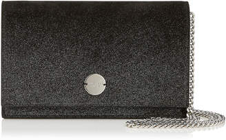 Jimmy Choo FLORENCE Black Suede Clutch Bag with Champagne Sprayed Glitter Degrade