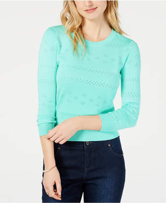 Maison Jules Pointelle-Knit Cropped Sweater