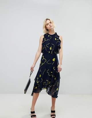Whistles Printed Ruffle Midi Dress