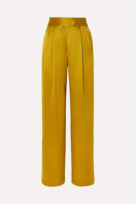 Mason by Michelle Mason Gathered Silk-charmeuse Wide-leg Pants - Mustard