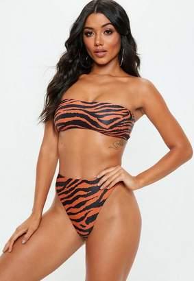 Missguided Orange Zebra Bandeau Bikini Top