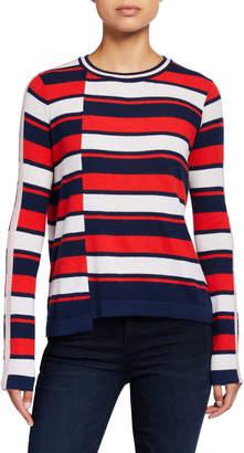 Neiman Marcus Striped Uneven-Hem Sweater