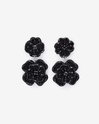 Express Beaded Fabric Flower Drop Earrings
