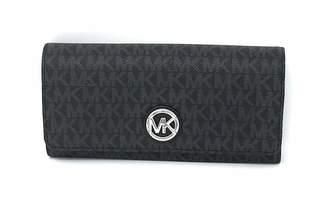 c2dfe03d0159d9 Michael Kors Signature PVC Fulton Flap Continental Wallet- Black