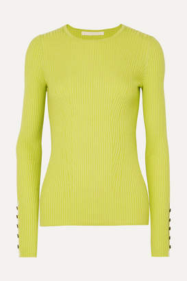 Jason Wu Collection Button-detailed Ribbed Cashmere And Silk-blend Sweater