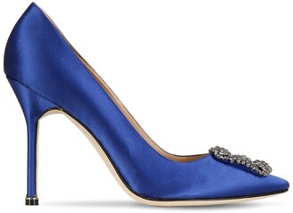 Manolo Blahnik 105mm Hangisi Swarovski Silk Satin Pumps