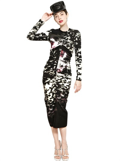 John Galliano Printed Draped Wool Blend Dress