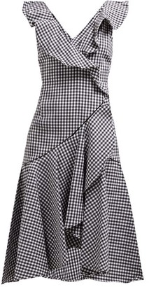 Jonathan Simkhai Ruffled Gingham Cotton Blend Dress - Womens - Black White