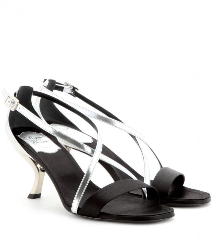 Roger Vivier Virgule metallic-leather and satin sandals