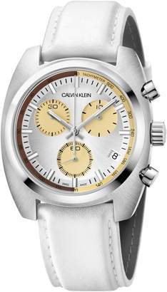 Calvin Klein Achieve Chronograph Leather Band Watch, 43mm