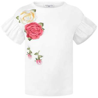 MonnaLisa MonnalisaIvory Embroidered Rose Applique Top