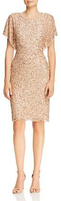 Adrianna Papell Beaded Flutter-Sleeve Dress