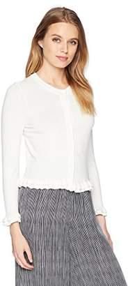 Milly Women's Knit Lightweight Ruffle Trim Button Front Cardigan