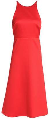 Halston Bow-Detailed Crepe-Satin Dress