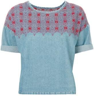 Current/Elliott embroidered denim top