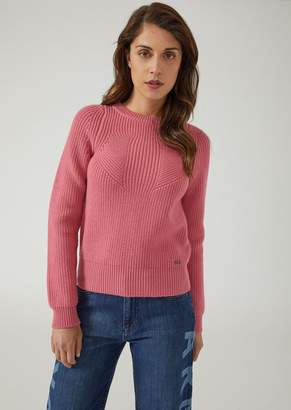 Emporio Armani Sweater In Full Cardigan Rib Virgin Wool With A Symmetrical Knit