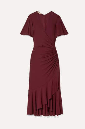 Michael Kors Ruffled Ruched Wrap-effect Jersey Midi Dress - Burgundy