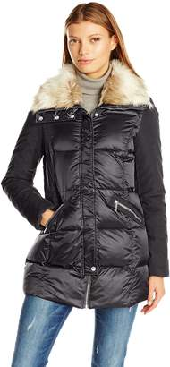 French Connection Women's Mixed Media Down Coat with Faux Fur Collar