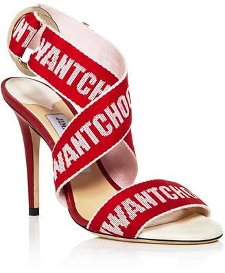 Jimmy Choo Women's Bailey 100 Logo Tape High-Heel Sandals