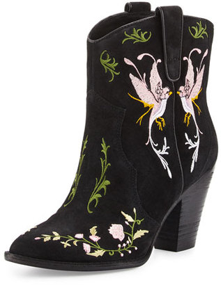 Ash Jenny Embroidered Western Bootie, Black/Birds $265 thestylecure.com