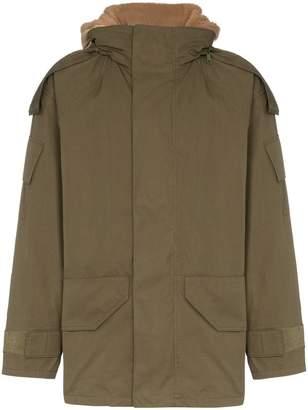 Yves Salomon Bachette hooded shearling lined cotton blend coat
