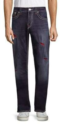 True Religion Big T Straight-Leg Ripped Jeans