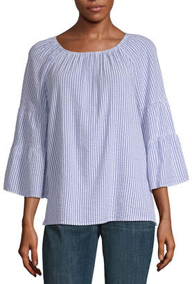 Liz Claiborne Womens Crew Neck 3/4 Sleeve Seersucker Blouse