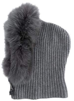 Max Mara Knit Fox Fur-Trimmed Hood