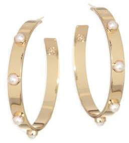 Tory Burch Stacked Studded Pearl Hoop Earrings