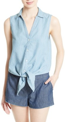 Women's Soft Joie Creta Chambray Tie Waist Top $138 thestylecure.com