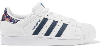adidas Originals - + The Farm Company Superstar Printed Twill-trimmed Leather Sneakers - White $85 thestylecure.com