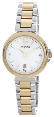 Bulova 98P142 Diamond Gallery Two Tone Quartz Womens Watch $123 thestylecure.com
