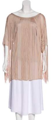 3.1 Phillip Lim Fringe-Accented Short Sleeve Blouse