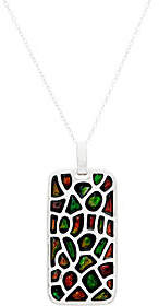 "QVC Ammolite Mosaic Sterling Pendant on 18""Chain"