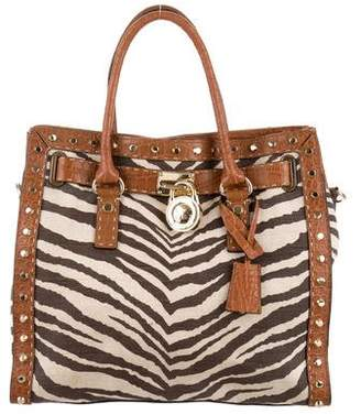 Pre Owned At Therealreal Michael Kors Animal Print Hamilton Satchel
