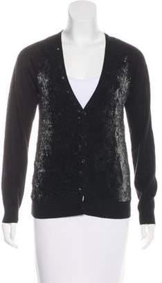 Rene Lezard Sequined Wool Cardigan