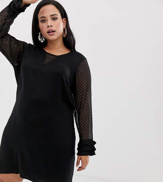 Junarose Shift Dress With Polka Dot Sleeves