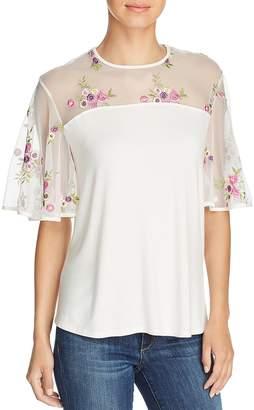 Kim & Cami Floral-Embroidered Flutter-Sleeve Top