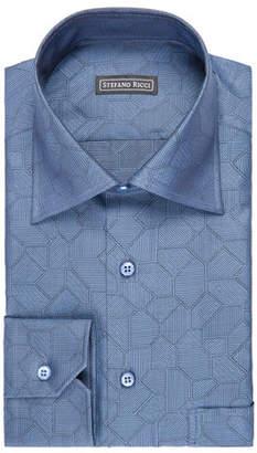Stefano Ricci Tile-Print Dress Shirt