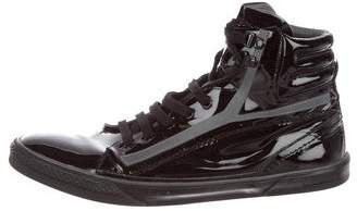 Saint Laurent Patent Leather High-Top Sneakers