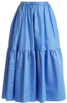 Stella McCartney Tanya Tiered Cotton Poplin Midi Skirt - Womens - Blue